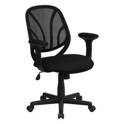 Flash Furniture - Flash Furniture Y-GO Mid-Back Black Mesh Computer Task Chair with Arms - Why go when you can stay. The y-go task chair and computer chair from flash furniture is a mid-back chair that packs style and comfort into unmatched usability. This office chair features a back mesh back with flex bars which conform to the natural curve of the user's back. The flex back with the padded foam seat makes this a valuable addition to any home office, professional office or school business department. [GO-WY-05-A-GG]