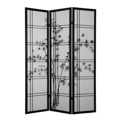 Oriental Unlimited - 6 ft. Tall Double Cross Bamboo Tree Shoji Screen (Black / 3 Panels) - Finish: Black / 3 PanelsAdd a decorative touch with a decidedly Asian flair to your home with this beautiful three paneled Shoji screen. Black finished frames compliment the white rice paper shades featuring a bamboo tree print that stretches from the center panel into the side ones. Screens may vary slightly in color. One of the most popular room dividers. A classic double cross design. A bamboo tree design painted on the white rice paper. Display as an art screen. Display for privacy and to define space. Crafted from durable, lightweight Scandinavian spruce. Crafted using Asian style mortise and tenon joinery. Fold slightly to stand upright. Shade is strong. Fiber reinforced. Pressed pulp rice paper allows diffused light yet provides complete privacy. Lacquered brass, 2-way hinges mean you can bend the panels in either direction. Black finish. Assembly required. Each panel: 17.5 in W x .75 in. D x 72 in. H. 3-Panel screen: 53 in. wide (flat); 45 in. wide (panels folded)