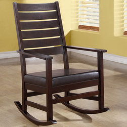 Monarch - Cappuccino 43in.H Slat Back Rocking Chair - Whether your are new parents looking to sooth a baby or just wanting a place to sit and relax, this traditional styled leather-look rocking chair will be a lovely addition to any room. This rich cappuccino finished rocker features a 43 in. high, slightly cur