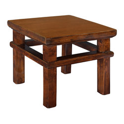 Antique Revival - Natural Top Lilliputian Step Stool - This Lilliputian Step Stool is an attractive functional piece for a kid's room or bathroom. Your kids can use it to get hard-to-reach items on shelves or to reach the bathroom sink, and it provides a nice accent piece on its own. The stool can hold up to 50 lbs safely and is lightly distressed with a natural wood top and black lacquer legs. Item is newly made.