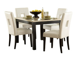 Homelegance - Homelegance Archstone 48 Inch Dining Table with Faux Marble Top - Contemporary design, sleek seating and the combination of black finish with white accents are all the ingredients you need to create a stylish setting for exceptional dining. The white faux marble top pairs perfectly with a cut out center chair back, the color contrast and stylish design create a rich visual enhancement. Chairs are available in white bi-cast vinyl and black bi-cast vinyl.
