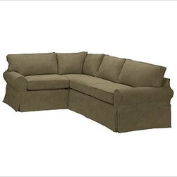 """PB Basic Right 3-Piece Small Sectional Slipcover, Velvet Sage - Designed exclusively for our PB Basic Sectional, these easy-care slipcovers have a casual drape, retain their smooth fit, and remove easily for cleaning. Select """"Living Room"""" in our {{link path='http://potterybarn.icovia.com/icovia.aspx' class='popup' width='900' height='700'}}Room Planner{{/link}} to select a configuration that's ideal for your space. This item can also be customized with your choice of over {{link path='pages/popups/fab_leather_popup.html' class='popup' width='720' height='800'}}80 custom fabrics and colors{{/link}}. For details and pricing on custom fabrics, please call us at 1.800.840.3658 or click Live Help. All slipcover fabrics are hand selected for softness, quality and durability. {{link path='pages/popups/sectionalsheet.html' class='popup' width='720' height='800'}}Left-arm or right-arm configuration{{/link}} is determined by the location of the arm on the love seat as you face the piece. This is a special-order item and ships directly from the manufacturer. To view our order and return policy, click on the Shipping Info tab above."""