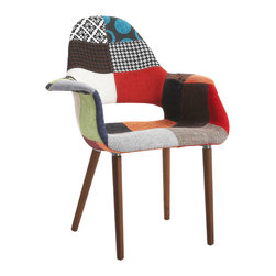 """IMPORT LIGHTING & FUNITURE - Organic Arm Chair, Patchwork - The Organic Chair is a comfortable small reading chair and was made in 1940 as a contribution to the New York MoMA's """"Organic Design in Home Furnishings"""" competition. Formally speaking it was ahead of its time, but owing to the lack of manufacturing techniques, never went into series production. Due to its precision crafting and meticulous detail, these valuable items are also ideal illustrative material for universities, colleges of designs and architects. This reproduction item is available in beige, grey and patchwork finishes."""