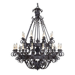 Savoy House - Wrought Iron 4 Light Up Lighting Chandelier Bourges Collection - *Twenty-Four light chandelierFeaturing antique cream candle coversRequires twenty-four 60w candelabra base lamps