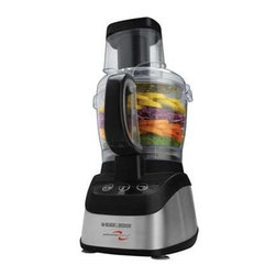 Applica - Black Decker Food Processor Blender Combo Stainless Steel Black - Black and Decker PowerPro 2-in-1 Food Process or and Blender. From food processing to blending the 600 watt mot or lets you slice chop shred grate puree and blend all your foods with ease. Do more with the 10-cup capacity work bowl and the 6-cup blending jar as you prepare delicious meals and savory drinks.