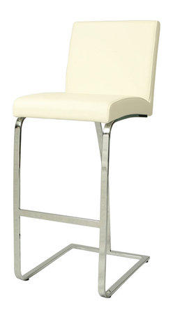 """Pastel - Monaco Barstool MC-210 - Ivory - 26"""" - The contemporary Monaco Barstool has a simple yet elegant design that is perfect for any decor. An ideal way to add a touch of modern flair to any dining or entertaining area in your home. This barstool features a quality metal frame with sturdy legs and foot rest finished in Chrome. The padded seat is upholstered in Pu Ivory or Pu Black offering comfort and style. (Available in 26"""" counter or 30"""" bar height)."""