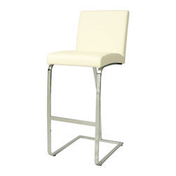 "Pastel - Monaco Barstool MC-210 - Ivory - 26"" - The contemporary Monaco Barstool has a simple yet elegant design that is perfect for any decor. An ideal way to add a touch of modern flair to any dining or entertaining area in your home. This barstool features a quality metal frame with sturdy legs and foot rest finished in Chrome. The padded seat is upholstered in Pu Ivory or Pu Black offering comfort and style. (Available in 26"" counter or 30"" bar height)."