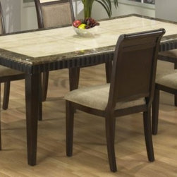 """Armen Living - Corallo 6-Seater Bull Nose Marble Top Dining Table - LCB993DICO42 - 30"""" standard dining table height"""