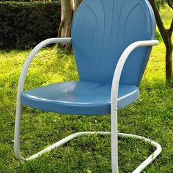 Crosley Furniture - Metal Chair in Sky Blue - UV resistant. Warranty: 90 days. Made from steel. Non-Toxic powder coated finish. Assembly required. 28.5 in. W x 21 in. D x 34.5 in. H (15 lbs.)Relax outside for hours on our nostalgically inspired Griffith metal outdoor furniture. Kick back while you reminisce in this sturdy steel chair, designed to withstand the hottest of summer days and other harsh conditions. The chairs non-toxic, powder-coated finish is available in various colors to complement your outdoor accessories.