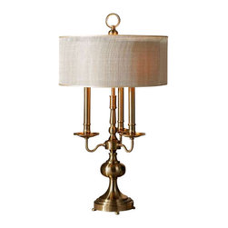 Uttermost Santina Brushed Brass Table Lamp - Metal spinnings finished in a plated antiqued brushed brass. Metal spinnings finished in a plated antiqued brushed brass. The round double hardback shades are a beige open weave transparent outer shade and a rust beige inner shade.