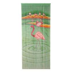 "Bamboo54 - Bamboo Flamingoes Scene - Bamboo54 flamingoes scene is made from authentic bamboo and hand strung. One curtain contains 90 strands across and is the perfect door hanging accessory. Hand painted on both sides. Measures approximately 36"" x 80"""