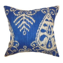 "The Pillow Collection - Hargeisa Ikat Pillow Sapphire - Bold and bright, this ikat throw pillow brings style to your interiors. This accent pillow features a traditional ikat print pattern in white and set against a blue background. This square pillow instantly adds an interesting element to your living room, bedroom or kitchen room. The material used in crafting this 18"" pillow is made from 100% soft cotton fabric. Pair up this decor pillow with solids or other patterns. Hidden zipper closure for easy cover removal.  Knife edge finish on all four sides.  Reversible pillow with the same fabric on the back side.  Spot cleaning suggested."