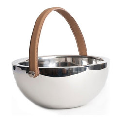 Vanilla Deco Centerpiece Bowl w Leather Handle - These striking pieces are quality made and make a beautiful accent to any decor.