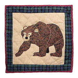 Patch Quilts - Cabin Bear Toss Pillow 16 x 16 Inch - Decorative applique Quilted Pillow Bed and Home Ensembles and Bedding items from Patch Magic   - Machine washable  - Line or Flat dry only Patch Quilts - TPCABNBR