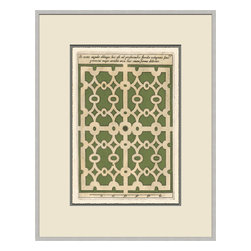 Soicher-Marin - Garden Plan F, Green - Giclee print with a silver  contemporary wood frame with off white mat insert.  Includes glass, eyes and wire.  Made in the USA. Wipe down with damp cloth