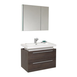 Fresca - Fresca Medio Gray Oak Modern Bathroom Vanity w/Two Drawers & Acrylic Countertop - Striking in its simplicity this vanity offers modern sophistication to your bathroom. This vanity also features a uniquely designed chrome faucet and two pull out drawers for storage.