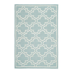 """Safavieh - Montague Dhurrie, Blue / Ivory 2'6"""" X 7' - Construction Method: Hand Woven Flat Weave. Country of Origin: India. Care Instructions: Vacuum Regularly To Prevent Dust And Crumbs From Settling Into The Roots Of The Fibers. Avoid Direct And Continuous Exposure To Sunlight. Use Rug Protectors Under The Legs Of Heavy Furniture To Avoid Flattening Piles. Do Not Pull Loose Ends; Clip Them With Scissors To Remove. Turn Carpet Occasionally To Equalize Wear. Remove Spills Immediately. The classic geometric motifs of Safavieh's flat weave Dhurrie Collection are equally at home in casual, contemporary, and traditional settings. We use pure wool to best recreate the original texture and soft colorations of antique dhurries prized by collectors. The Dhurrie weave is native to India, and every step in our production process faithfully follows the traditions of local artisans. The results are natural, organic and with wonderful nuances in pattern and tone."""