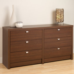 Prepac Medium Brown Walnut Series 9 Designer 6-Drawer Dresser - This dresser combines function and style. featuring chrome finished metal pulls that provide easy access to six drawers' space. Pair it with other pieces from the Series 9 Designer Collection from Prepac to complete your bedroom. Drawers run smoothly on metal glides with built-in safety stops. All of our products have a laminate finish, and should not be painted or varnished. Constructed from CARB-compliant, laminated composite woods with a sturdy MDF backer.