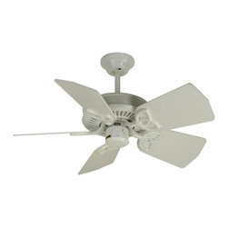 "Craftmade - Piccolo 30 in. Fan in White w Standard Blades - Fan Specs:. Standard, 3 Speed Reversible Motor. 2 in. and 6 in. Downrods (Included). Custom 30"" Piccolo Blades not included. Great for Small Place. Number of Fan Blades: 5. Blade Pitch: 25°. Motor Size: 153 x 8mm. High Speed Amps: 0.4. RPM (Hi-Med-Low): 200-120-55. Airflow (Cubic FT/MIN): 2287. Electricity Use: 46 Watts. Airflow Efficiency (Cubic FT/Min/Watt): 50. Blade Specs:. Blade Length: 30 in."