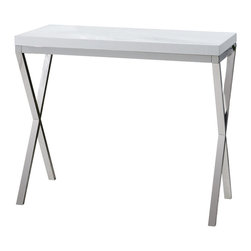 Uttermost - Uttermost Bjorn Modern Console Table - Bjorn Modern Console Table by Uttermost Chrome Metal Base With Gloss White, Crocodile-embossed, Polyurethane Tabletop.