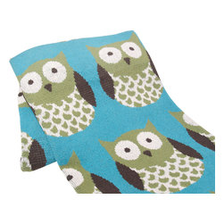 "in2green - Eco Crazy Owls Throw, Avocado - Our throws are all knit in the USA with a blend of recycled cotton yarn (74% recycled cotton yarn, 24% acrylic, 2% other), generously sized at 50"" x 60"" and machine wash and dry...how easy is that!"