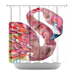 DiaNoche Designs - Shower Curtain Artistic - Flamingo - DiaNoche Designs works with artists from around the world to bring unique, artistic products to decorate all aspects of your home.  Our designer Shower Curtains will be the talk of every guest to visit your bathroom!  Our Shower Curtains have Sewn reinforced holes for curtain rings, Shower Curtain Rings Not Included.  Dye Sublimation printing adheres the ink to the material for long life and durability. Machine Wash upon arrival for maximum softness on cold and dry low.  Printed in USA.
