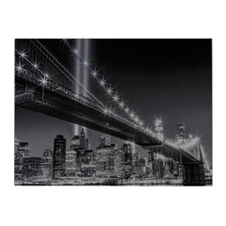 Sterling Industries - Sterling Industries 51-10123 Williamsburg Bridge Decor in Black And White - Williamsburg Bridge-Williamsburg Brige Image Printed On Glass