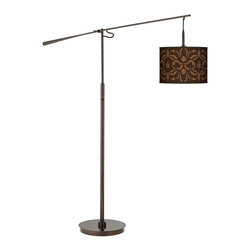 "Giclee Glow - Traditional Mocha Flourish Linen Bronze Balance Arm Floor Lamp - Balance arm floor lamps are ideal for adding style and lighting function to seating areas and small rooms. This slim profile design features a warm tiger bronze finish on the base pole and balance arm. Adjust the arm as desired to put light just where you need it for reading and other tasks. The uno drum shade up top features a chic custom printed Mocha Flourish Linen giclee pattern. On/off switch on the main column. Custom made-to-order shade design. U.S. Patent # 7347593.Balance arm floor lamp. In a tiger bronze finish. Custom Mocha Flourish Linen pattern printed drum shade. Adjustable balance lamp /off switch on the main column. Maximum 100 watt or equivalent bulb (not included).73"" maximum height with arm extension.55 1/2"" long balance arm.33"" extension from center pole.15"" wide base. Shade is 13 1/2"" across the top and bottom 10"" high.  Balance arm floor lamp.  In a tiger bronze finish.  Custom Mocha Flourish Linen pattern printed drum shade.  Adjustable balance lamp arm.  On/off switch on the main column.  Maximum 100 watt or equivalent bulb (not included).  73"" maximum height with arm extension.  55 1/2"" long balance arm.  33"" extension from center pole.  15"" wide base.  Shade is 13 1/2"" across the top and bottom 10"" high."