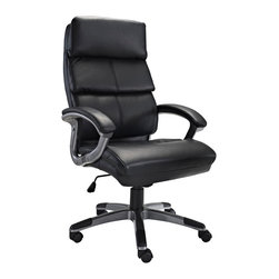 LexMod - Stellar High Back Ergonomic Executive Office Chair in Black Vinyl - Mobilize your own constellation of influence with the Stellar High Back Office Chair. Plush padded cushions and sleek dual toned curved arms accentuate this chair modeled for leaders imbibed with an entrepreneurial spirit. Stellar also comes with lumbar support, pneumatic height adjustment, a black nylon base, dual wheel carpet casters and a full 360 degree swivel.