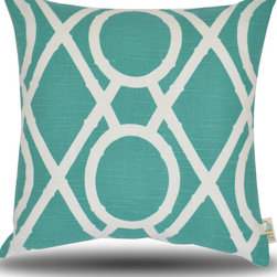 Yellow Boat Pillow Company - Marie Pillow - Beautiful teal and crisp white are perfect for this trendy, lattice garden design!  18x18 inch clean edge finish.  Luxurious feather/down insert included.  Exceptional fabric provides perfect high quality compliment to your furniture!  Removable cover with hidden zipper closure.  Made in the USA.