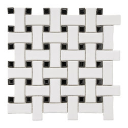 SomerTile Basket-weave White/Black Porcelain Mosaic Tile - Black and white tiles lend graphic appeal to any room. I often recommend that my clients add tiles like these in bathrooms or laundry rooms for timeless style.