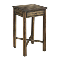 Cooper Classics - Cooper Classics Munden 14x14 Square Side Table in Dark Brown w/ Black Highlights - Compliment your home's decor with the lovely Munden Side Table. This handsome table features one drawer and a dark brown finish with black highlights that will enrich any decor.