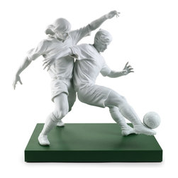 """Lladro Porcelain - Lladro Champions Team Figurine - Plus One Year Accidental Breakage Replacement - """"Hand Made In Valencia Spain - Sculpted By: Jose Santaeulalia - Included with this sculpture is replacement insurance against accidental breakage. The replacement insurance is valid for one year from the date of purchase and covers 100% of the cost to replace this sculpture (shipping not included). However once the sculpture retires or is no longer being made, the breakage coverage ends as the piece can no longer be replaced. """""""