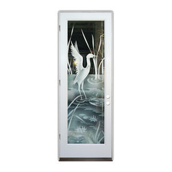 Sans Soucie Art Glass (door frame material Plastpro) - Glass Front Entry Door Sans Soucie Art Glass Crane II 2D - Sans Soucie Art Glass Front Door with Sandblast Etched Glass Design. Get the privacy you need without blocking light, thru beautiful works of etched glass art by Sans Soucie!This glass is semi-private. Door material will be unfinished, ready for paint or stain.Bronze Sill, Sweep.Satin Nickel Hinges. Available in other finishes, sizes, swing directions and door materials.Dual Pane Tempered Safety Glass.Cleaning is the same as regular clear glass. Use glass cleaner and a soft cloth.