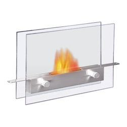 Anywhere Fireplace - Anywhere Metropolitan Indoor/Outdoor Bio-Ethanol Fireplace - This new super chic, Anywhere Fireplace Metropolitan model brings the ambiance of fire to small spaces. Its sleek tempered glass front and back and stainless steel fuel burner can be put on any steady surface a table top, a stand, the floor or inside non-functioning fireplace to finally allow you to see the beautiful dancing flames of a fire where you previously could not. Its clear glass design allows you to view the dancing flames from any angle so you can put it virtually anywhere in a room be able to enjoy the ambiance created by the real fire. It uses liquid bio-ethanol fuel and gives of no smoke, soot, or ash. No installation, electric or gas connection needed. Its relatively small size makes it suitable for placement in a large number of places and it is very easy to move from one place to another. Never attempt to move the fireplace while lit, hot, or filled with fuel. Never substitute any other fuel in place of liquid fuel for ventless fireplaces. Always read all instructions on your firelplace and the fuel bottle.