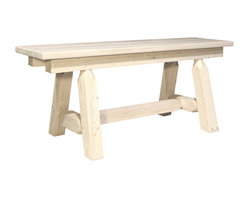 "Montana Woodworks - Montana Woodworks Homestead Plank Style Bench Lacquered, 6' - From Montana Woodworks the largest manufacturer of handcrafted heirloom quality rustic furnishings in America comes the Homestead Collection line of furniture products. Handcrafted in the mountains of Montana using solid American grown wood the artisans rough saw all the timbers and accessory trim pieces for a look uniquely reminiscent of the timber-framed homes once found on the American frontier. This uniquely designed plank style bench is just the right size to accompany the vastly popular Montana Woodworks 45"" Square 4 Post Table (sold separately). Mix and match with dining side chairs or use it in the hall or foot of the bed for easy comfortable seating. Seat depth approximately 12"". Comes fully assembled. All Montana Woodworks products come with a 20-year limited warranty at no additional charge."