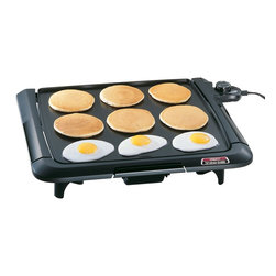"Presto - Family Size Cool Touch Tilt Griddle - Efficient ""square"" shape holds more pancakes. eggs. and sandwiches than most conventional rectangular griddles. Exclusive Tilt'n'Drain** feature lets griddle adjust from a level grilling surface for eggs and pancakes to a tilted draining surface for meats. Cool touch base surrounds the grilling surface on the front and both sides. Easy to clean and store. Fits in most dishwashers and standard 18-"" cabinets. Slide-out drip tray removes for easy cleaning. Big 14"" x 15"" cooking surface with built-in backstop ledge. Control Master* heat control maintains the proper cooking temperature automatically. Premium nonstick finish provides stick-free cooking and easy cleaning. Fully immersible and dishwasher safe with heat control removed."