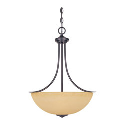 Designers Fountain - Designers Fountain Madison Inverted Pendant Light in Oil Rubbed Bronze - Shown in picture: Madison Inverted Pendant in Oil Rubbed Bronze finish with Amber glass