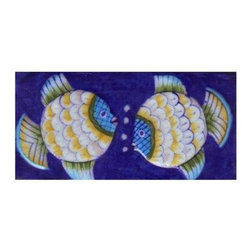 "Knobco - Ceramic tile, Two Embossed Fish with Blue Base - Two Embossed Fish with Blue Base Tile from   Jaipur, India. Unique, hand painted tiles for your kitchen or other   tiling project. Tile is 3x6"" in size."