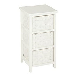 Honey Can DO - 3-Drawer Storage Chest - White - Our 3-Drawer Storage Chest, White. Getting organized has never looked better with this impressive double woven chest. This storage unit has three spacious drawers to hold clothes, tools, office supplies or anything else that needs tucked away. A natural wood top surface provides even more storage space and can double as a night stand.