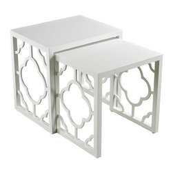 Sterling Industries - Sterling Nesting Table in Matt White - Gloss White Nesting Table by Sterling Industries