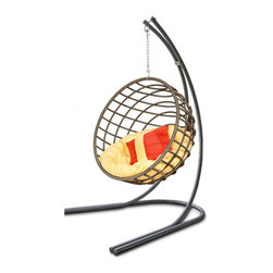 The Outback Chair Sphere | OUTBACK-SPHERE-209 | swings |hammock swing | Hammock - This round hammock chair is a modern take on a 70s form. The sides are open to let air flow on a hot day. Change out the pillows for a different look.
