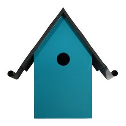 Garden Place Wooden Birdhouse, Seagoing Blue - Add a touch of whimsical color to your yard and garden with this beautiful birdhouse.
