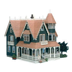 Greenleaf - Greenleaf Garfield Dollhouse Kit - 1 Inch Scale - GNL037 - Shop for Dollhouses and Dollhouse Furnishings from Hayneedle.com! The bright cheerful facade of the Greenleaf Garfield Dollhouse Kit - 1 Inch Scale is all about the details. Grand in stature and Victorian to the core it features seven stately peaks a wrap-around porch with latticed detail two cozy balconies and a pair of bay windows. Siding included. Continuing the trend of elegance on the interior two welcoming fireplaces and a curved staircase are included waiting to be personalized by your color choices while the angled roof across the top floor lends striking visual interest. You'll find easy access to all 10 rooms; in addition to the corner opening there is a removable roof section and a lift-off turret atop the secret tower chamber. Generously sized and expertly crafted this majestic piece makes easy work of creating the perfect dollhouse. This dollhouse comes unassembled; approximate assembly time is 20 hours. It also comes unfinished and ready to paint. Paint not included. About GreenleafEstablished in 1947 Greenleaf Steel Rule Die Corp is a leading manufacturer of all-wood dollhouse kits furnishings and accessories. Located in Schenevus N.Y. Greenleaf is acknowledged by many in the miniatures industry for its outstanding design and superior quality. Greenleaf wooden dollhouse kits are an ideal project for collectors or families who want to create lasting keepsakes.