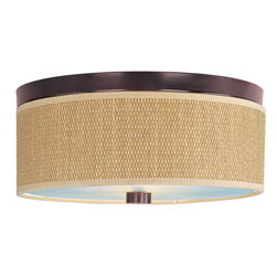 ET2 Lighting - Elements 3-Light Flush Mount - The Elements collection offers the freedom of choice in lighting design. Start with the style selection - pendant, mini pendant, or wall sconce - then choose the right shape, square or circular, for the space. Wrap the selected Oil Rubbed Bronze or Satin Nickel lamp in one of five color options that will make just the right statement: Grass Cloth, White Weave, White Pleat, Crimson or Satin White. Finally, choose the perfect light source for the task. Whether fluorescent, xenon, or incandescent, this collection brings together all the right elements.