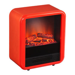 Fasser Electric Fireplace, Red-Orange - When an ordinary space heater just will not suffice, take a look at this adorable Fasser electric fireplace. Just plug it in and cozy up as this fireplace brings retro charm alongside functional heating potential. Choose either cool navy blue or too hot to touch red-orange for a bring pop of color and warmth for any room in the home.