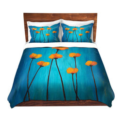 DiaNoche Designs - Duvet Cover Twill - Eternal Poppies - Lightweight and soft brushed twill Duvet Cover sizes Twin, Queen, King.  SHAMS NOT INCLUDED.  This duvet is designed to wash upon arrival for maximum softness.   Each duvet starts by looming the fabric and cutting to the size ordered.  The Image is printed and your Duvet Cover is meticulously sewn together with ties in each corner and a concealed zip closure.  All in the USA!!  Poly top with a Cotton Poly underside.  Dye Sublimation printing permanently adheres the ink to the material for long life and durability. Printed top, cream colored bottom, Machine Washable, Product may vary slightly from image.