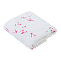 """Auggie - Auggie Pretty with Pink Everyday Blanket - A bright floral print makes Pretty with Pink classic girl with a twist. Softer with every wash, this light weight blanket is backed with gauzy flanelette making it a cozy addition to a nursery or diaper bag. Each blanket comes packed in an Auggie gift box, making it perfect for baby showers. 34"""" x 40"""" 100% cotton. Machine washable. Founded by sisters Gen and Cristina Burgess in Toronto, Auggie features a subtle yet whimsical collection of bedding for the nursery & child's room."""