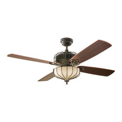 """Monte Carlo - Monte Carlo 4AIR52DBD Aviary Dark Bronze 52"""" Ceiling Fan - Integrated Opal Etched Glass 3x60 Watt Incandescent Candelabra Light (Bulbs Included)"""