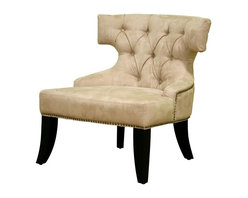 Wholesale Interiors - Baxton Studio Button-Tufted Accent Chair with Nailhead Trim - Sophisticated and elegant, this uniquely shaped Baxton Studio has the look and feel of real suede leather. Beige microfiber upholstered chair features a button-tufted contoured back and decorative nail head trim. Gently flared dark wood legs enhance the graceful silhouette. This lovely chair is ideal for your living room, office, or boudoir. Microfiber Club / Accent Chair with a uniquely cut back support, button tufted cushions, Special detail trim with pebbles on back of the chair, classic wooden legs.